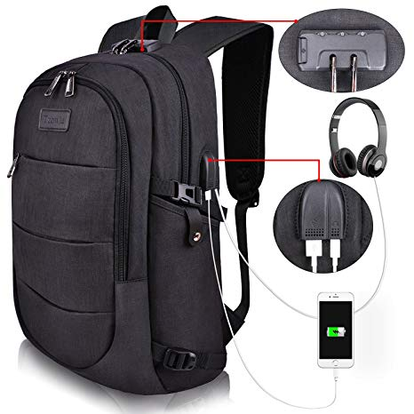 gift ideas for men who travel Tzowla Business Laptop Backpack Water Resistant Anti-Theft with USB Charging Port and Lock