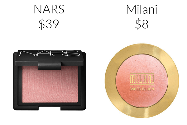 Drugstore Makeup Dupes Milani Baked Powder Blush in Luminoso NARS Orgasm Blush