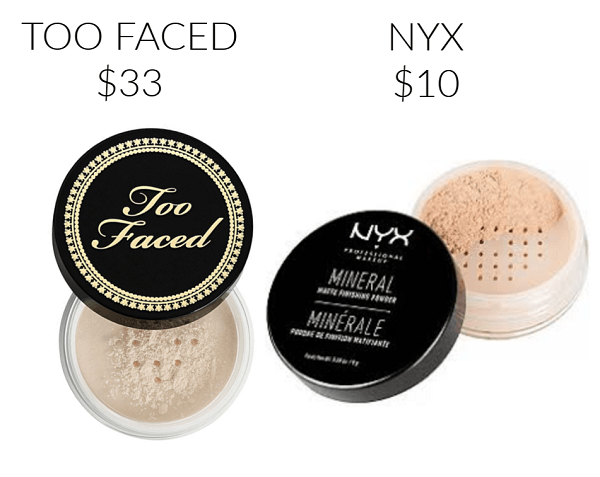 Drugstore Makeup Dupes NYX Mineral Matte Finishing Powder TOO FACED Born This Way Ethereal