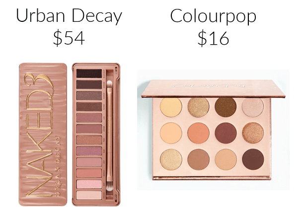 Drugstore Makeup Dupes eyeshadow COLOURPOP Double Entendre Pressed Powder Shadow Palette URBAN DECAY Naked3 Palette
