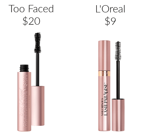 Drugstore Makeup Dupes mascara Too Faced Better Than Sex Mascara L'Oreal Voluminous Lash Paradise Mascara