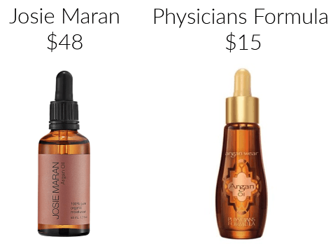 Josie Maran Physicians Formula argan oil drugstore makeup dupes