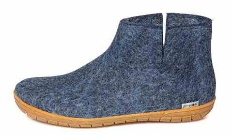 Glerups wool slippers blue low boot rubber sole